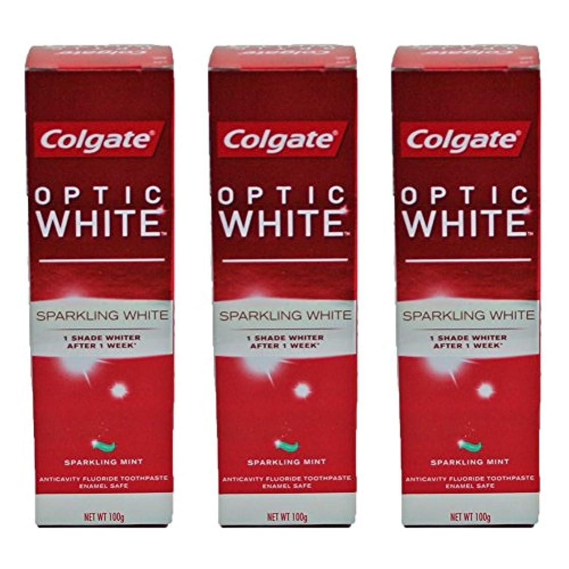 吐く朝の体操をする報酬のコールゲート オプティック ホワイト スパークリングシャイン 100g 3個セット [並行輸入品]