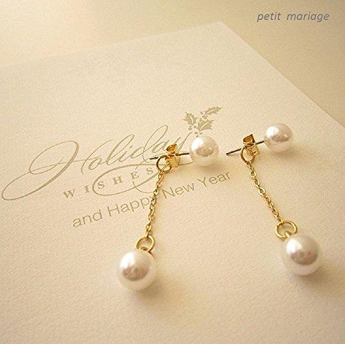 petit mariage[ペティーマリアージュ] 日本製 2way K14 ゴールド コーティング パール チェーン ピアス