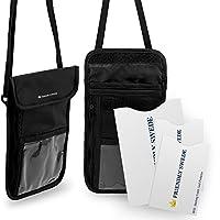 北欧スウェーデン発「The Friendly Swede」ネックポーチ ホルダー スタッシュ 2個セット ナイロン製 パスポート クレジットカード RFID遮断ケース付き 旅行 防犯 安全 セキュリティ (ブラック)