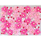 usausaのお店 福袋 造花 大きいお花がたくさん入った ピンクとホワイトのフラワーモチーフ・パーツ・アップリケ・ローズ いろいろ 100個セット(約13mmから70mm)