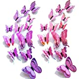 【Double Wings】 TERSELY 12 Purple+ 12 Pink 3D Butterfly Wall Removable Sticker Decals, Home Decoration DIY Removable Man-Made