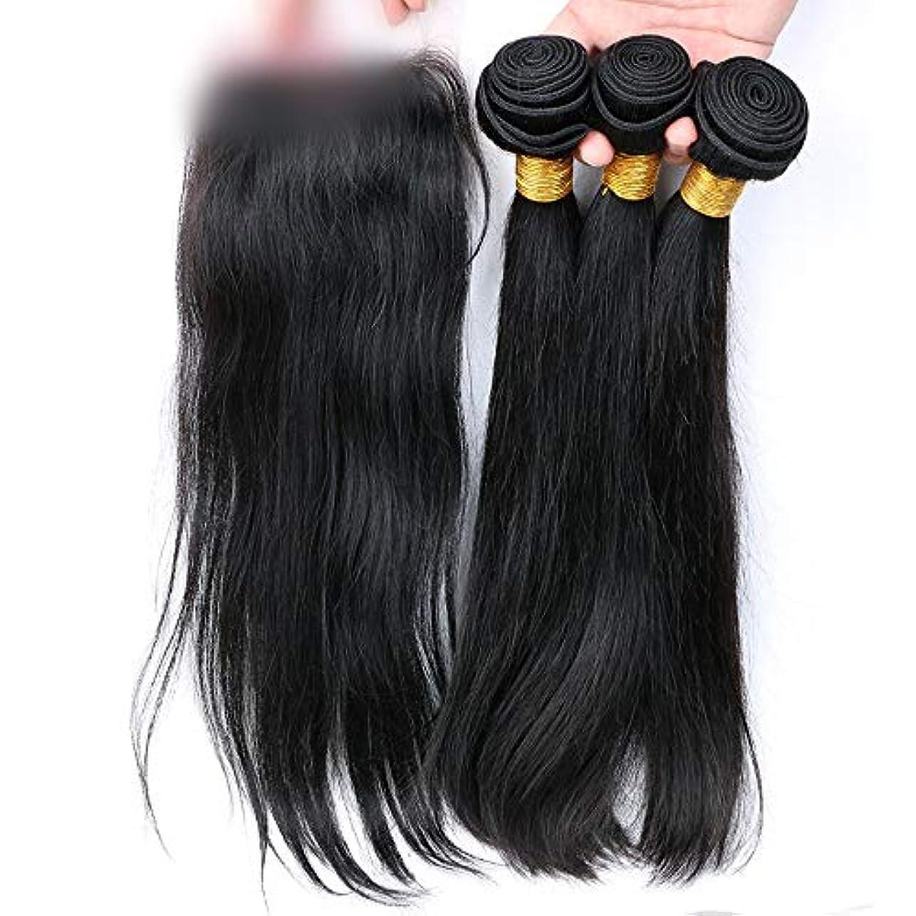 エクスタシー偏見宿泊施設HOHYLLYA ブラジルストレートヘア100%本物の人間の髪の毛の拡張子レース前頭閉鎖自然に見える合成髪レースかつらロールプレイングかつら (色 : 黒, サイズ : 14 inch)