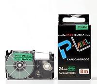 カシオ ネームランド用 互換 テープカートリッジ 24mm XR-24GN 緑地黒文字