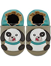 Kimi + Kai Kids Soft Sole Leather Crib Bootie Shoes - Playful Puppy