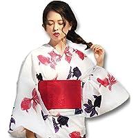 浴衣 レディース 女性浴衣 単品 浴衣単品 ゆかた ユカタ 大人 大人浴衣 白 ホワイト 赤 レッド 金魚 レトロ シンプル 個性的