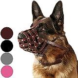CollarDirect Dog Muzzle German Shepherd Dalmatian Doberman Setter Leather Basket Medium Large Breeds Black Brown (L, Chestnut