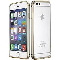 [Decath] 美しい曲面フォルム バンパーケース iPhone6 /iPhone6s (4.7インチ) 対応 専用 軽量 アルミ バンパー ケース ラウンド(婉曲) 加工 メッキライン (シャンパンゴールド×ゴールドスパーク)