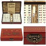 144pcs、ポータブル、麻雀、ボックス付き、英語説明書付き、旅行用