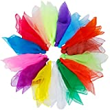 Rovtop 15Pcs Dance Juggling Scarves for Child Show, or Hide, 15 Colors, 60 x 60 cm
