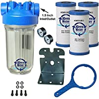 KleenWater Premier Whole House Water Filter System - 1.5 Inch Inlet/Outlet - Transparent Housing - 20 GPM with Bracket, Wrench and Three 4.5 x 9 7/8 Dirt Sediment Cartridges by KleenWater