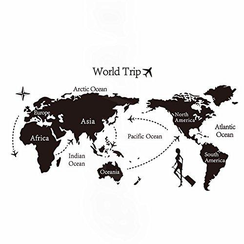 RoomClip商品情報 - ウォールステッカー ( 世界地図 旅行 )( 仕上 140 x 80 )( シール アルファベット モノクロタイポグラフィ インテリア ステッカー 壁紙 リビング 窓 冷蔵庫 ポスター ステッカー 壁シール 黒 )