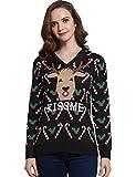 Camii MiaレディースFunトナカイプルオーバー醜いクリスマスセーター US サイズ: XL カラー: ブラック