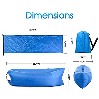 Fast Inflatable Air Sleeping Bag Lazy Sofa Lounge Beach Sofa Bed Camping Blue/Green/Purple