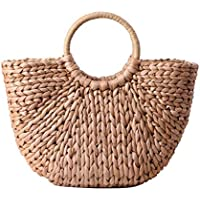Hand-woven Straw Bag,Summer Beach Sea Casual Retro Design Straw Clutch Handbag Top-handle Rattan Bags