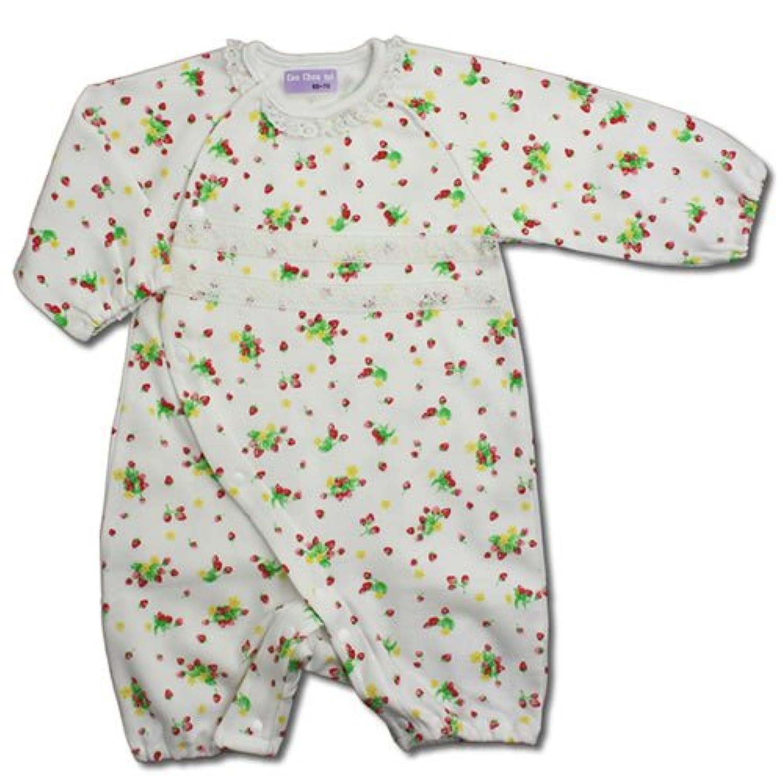【フィットオール】イチゴ 白 カバーオール 【60cm - 70cm】ベビー ピンク 長袖 いちご