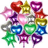 16枚入 バルーン ハート 風船 星 アルミバルーン 46cm 大きい パーティー 結婚式 クリスマス バレンタイン お店の飾り (8色16個 ハート 星)