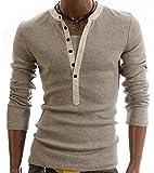 (キュアキュア) CURECURE メンズ 長袖 ボタン 付き ロング シャツ カジュアル ヘンリーネック tシャツ トップス 大きいサイズ tシャツ 薄 ドライ クール vネック おおきい オシャレ アウトドア スリム オラオラ インナー カットソー 細身 ストリート ロング丈 薄手 ユッタリ t-シャツ ティシャツ ティーシャツ b系 big ビッグ はいいろ グレー グレイ (L) 灰色