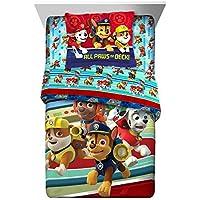 2 Piece KidsブルーレッドホワイトPaw Patrolコンフォーターツイン/フルセット、Ryder犬ベッドPuppy Heroパターン消防士警察RubbleマーシャルChase Zuma Doggy Puppiesグリーンブラウンイエロー、ポリエステル