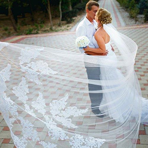 単層ウエディングベール ブライダルベール レース刺繍 花嫁用品 3m (ホワイト)