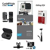 GoPro hero3+シルバーエディションカメラ–chdhn-302-kit-スターターキットは、32GBマイクロSD、クリーニングキット、バッテリー、バッテリー充電器、胸囲マウント、キャリーケース、Monpod