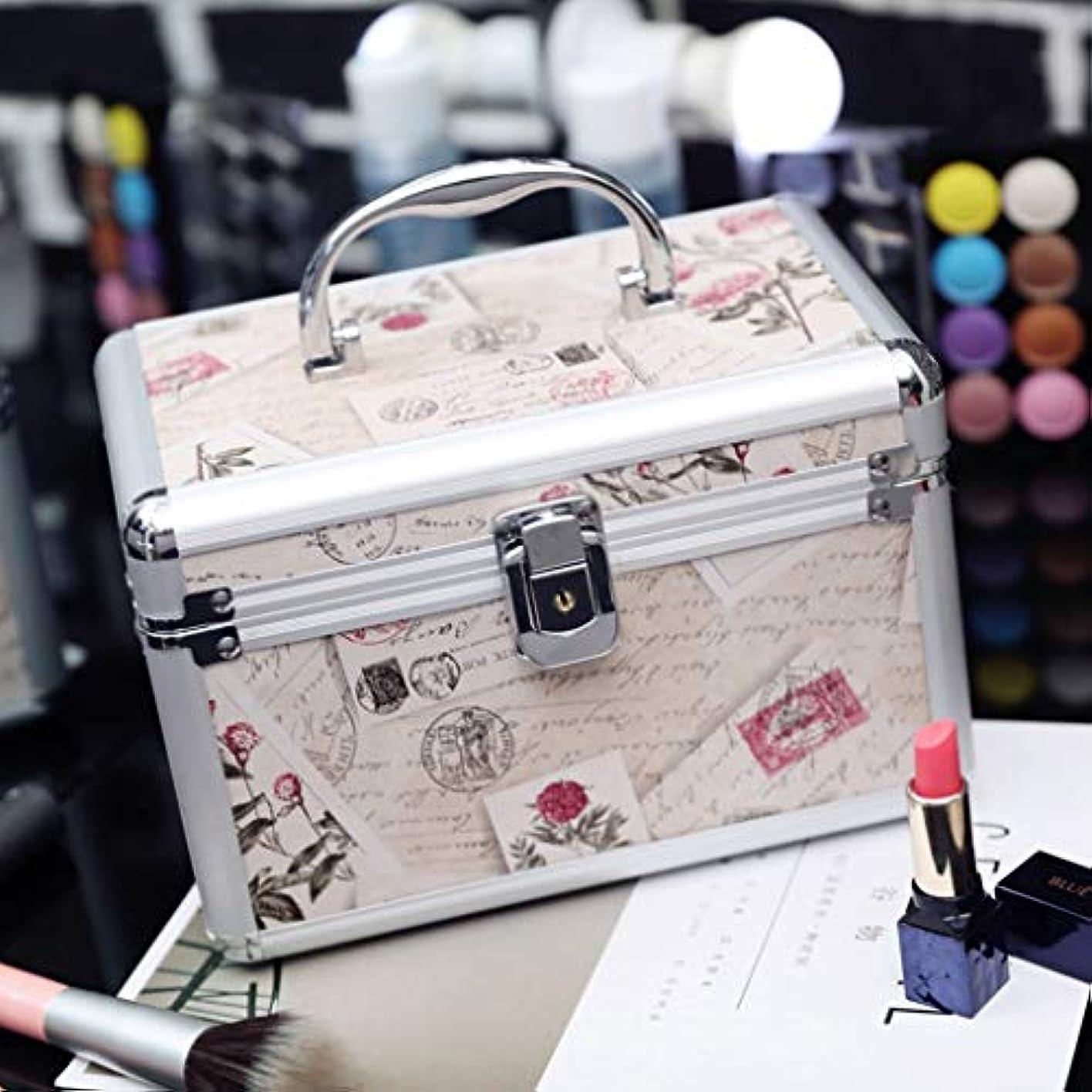 小説スイングバルセロナメイクボックス 化粧箱 收納バッグ 化粧品収納ボックス 鍵付き アルミ製 道具入れ 小物入れ 機能的 大容量 收納抜群 23×15×15CM ベージュ