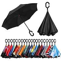 [Amazonブランド] Eono(イオーノ) ダブル レイヤー 反転 傘 リバース 折り 傘 セルフ スタンディング 防風 UV 保護 トラベル 傘 車 雨 と アウトドア用 C シェイプ ハンドル ズ ブラック