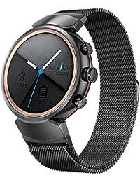 Kartice for ASUS Zen Watch 3バンド スマートウォッチ交換ベルト マグネット式 フィットビット ミラネーゼループ ステンレス製 バンドfor ASUS Zen Watch 3 (黒)