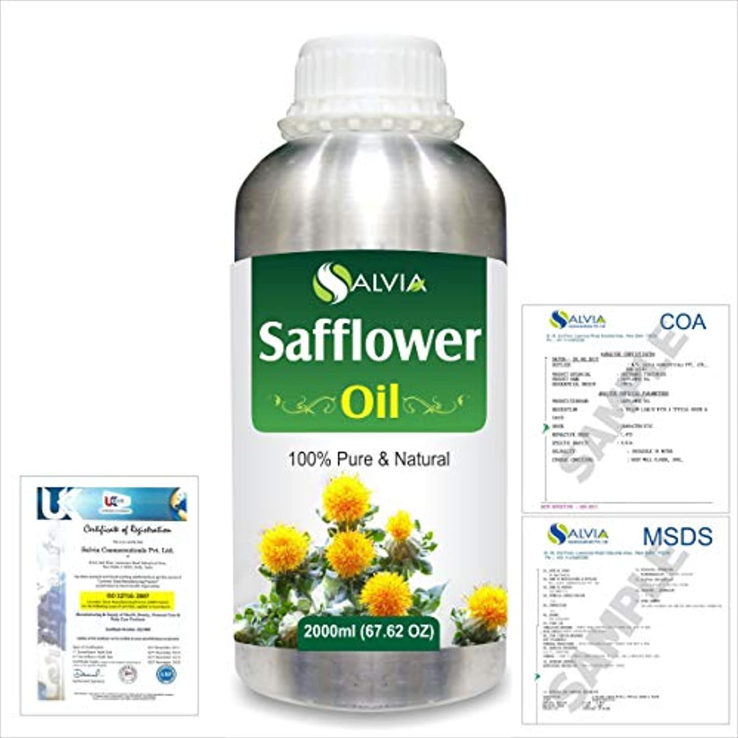 価格寄付動力学Safflower (Carthamus tinctorius) Natural Pure Undiluted Uncut Carrier Oil 2000ml/67 fl.oz.