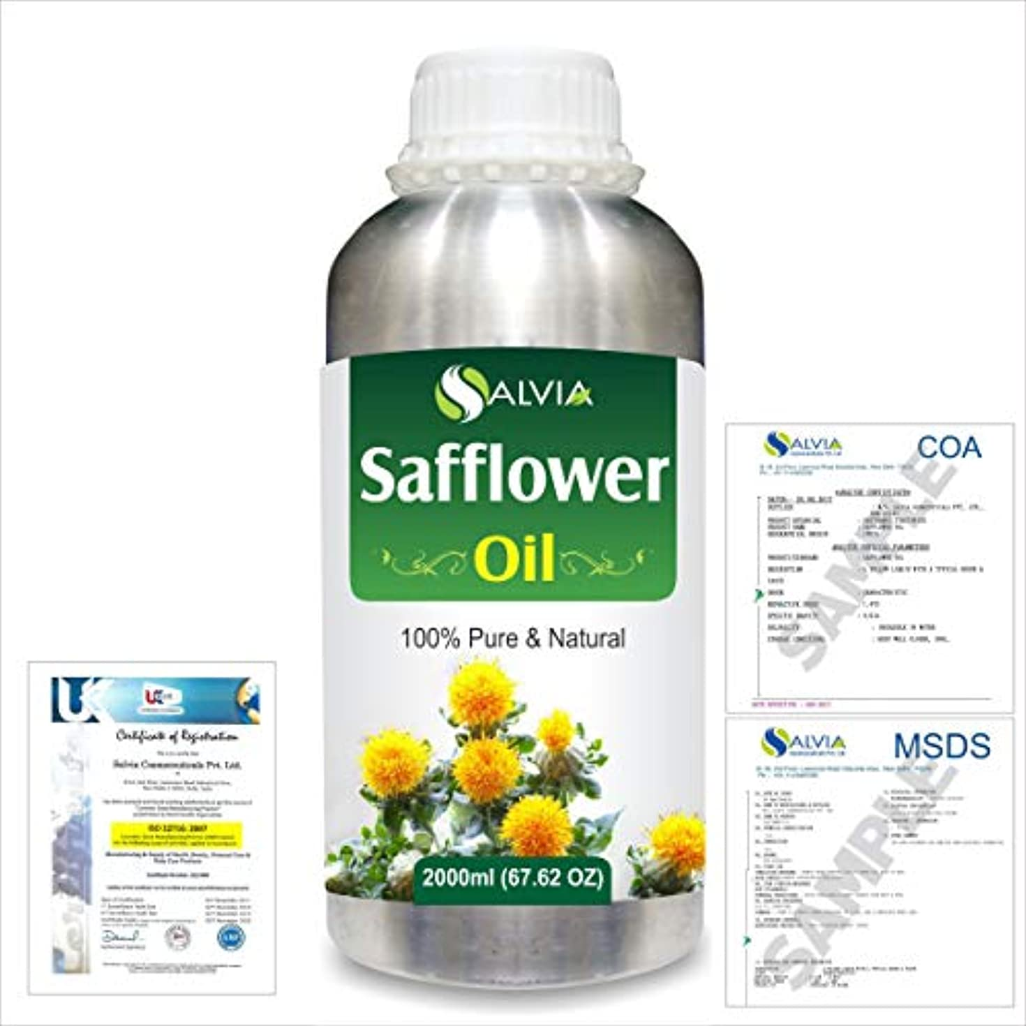 ドレイン呪われたできればSafflower (Carthamus tinctorius) Natural Pure Undiluted Uncut Carrier Oil 2000ml/67 fl.oz.
