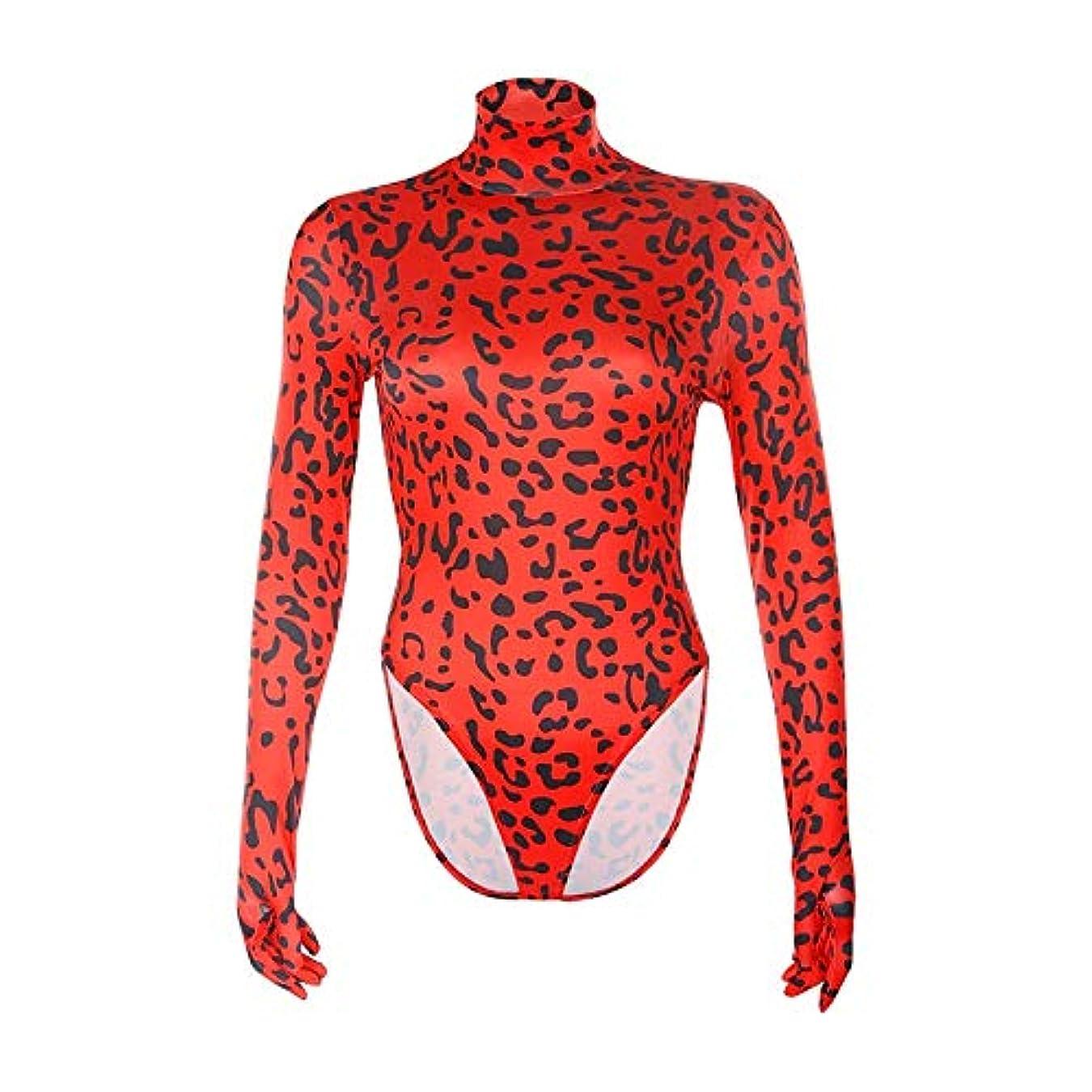 自伝ラフト悲観的アニマルプリントタートルネック冬のボディスーツ長袖手袋をしレイヴパーティーのボディスリムボディコンボディースーツ秋の服 (Color : Red, Size : Medium)