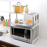 ASL キッチンバスルーム多機能2層調節可能なステンレス鋼電子レンジオーブンラックオーブン棚収納棚 HAPPY ( 色 : D )