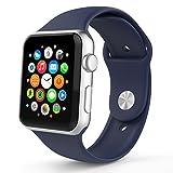 Apple Watch バンド アップルウォッチ BRG Apple watchベルト スポーツバンド ソフト 高級感 シリコーン 製 交換ベルト (42mm, ミッドナイトブルー)