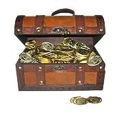 海賊アイテム リアルな木製宝箱 ゴールドコイン 金貨 144枚セット
