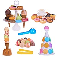 Scoop Stacking Ice Cream Cone and Desserts Tower-54Pcs Pretend Food Play Set for Kids Balancing Game,Birthday Party Favours