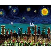 デジタル油絵,抽象的な空と動物 Diy 手塗りデジタルペインティングの大人の子供の初心者の抽象的なキャンバスの絵画のアートワークのリビングルームの装飾が施され、デジタル絵画ギフト、 Fr を 40 × 50 cm でペイント