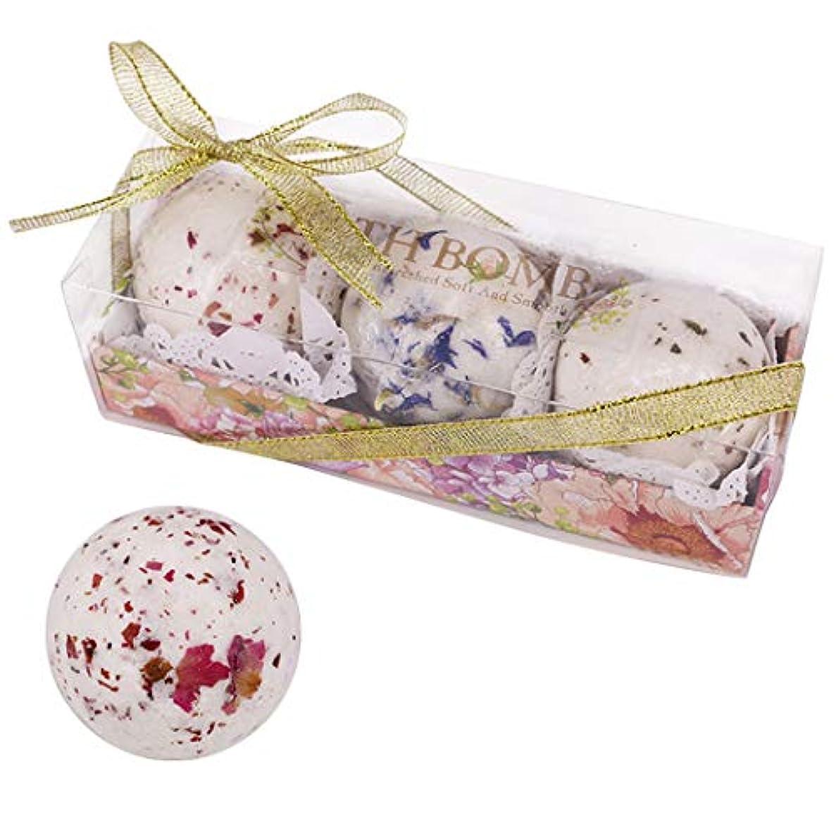 Funpa 3枚セット 入浴剤 丸い 干し花 香り 可愛い 豊富泡 スキンケア 女性 彼女へのプレゼント バレンタインデー お風呂 塩ボール 疲れを解消