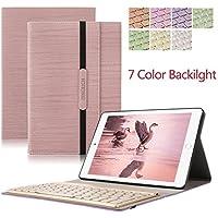 iPad Pro 10.5 キーボードケース DINGRICHワイヤレスBluetooth キーボード 手帳型 7色バックライトキーボード着脱可能 高級PUレザー iPad Pro 10.5 ケース (ピンク)