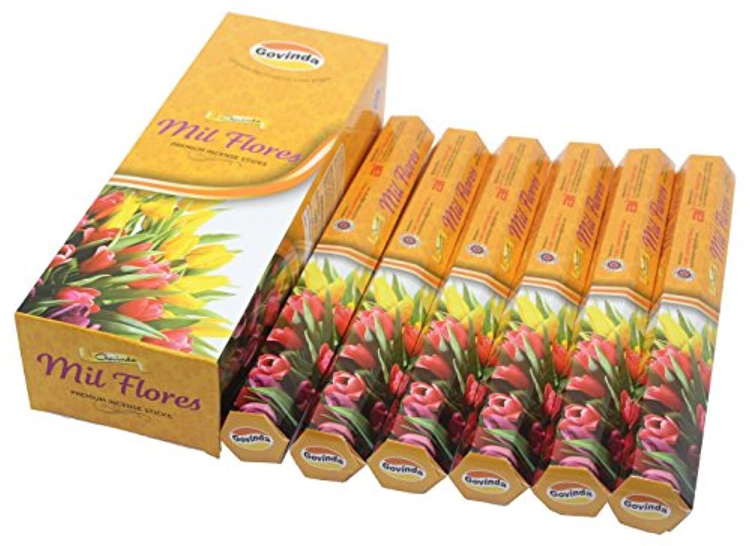 不健全付録許可するGovinda Incense – Mil Flores ( milflowers ) – 120 Incense Sticks、MasalaコーティングIncense