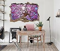 3D ピンクの花の木 7 ウォールステッカー 壁の装飾 壁紙 壁画 三次元 突破口 世帯 ホームインテリアフォト Carly (250*150cm)