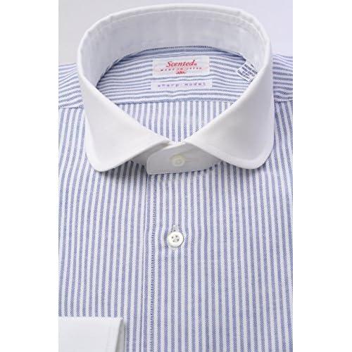 (スキャッティ) Scented 白×ブルーのロンスト オックスフォード クレリック ラウンドカラー (細身)シャツ rd3345-3983