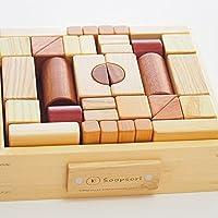 スプソリ 積み木 いっぱいセット2段66ピース 木箱つき 10種類の 無着色 天然木材使用