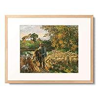 カミーユ・ピサロ 「A Shepherd At Montfoucault, Sunset. 1876」 額装アート作品