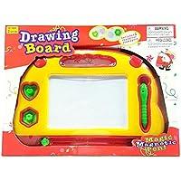Pelおもちゃ磁気Doodle図面ボード| 2磁気スタンプ& 1磁気ペンIncluded withスケッチパッド[イエロー/レッド]