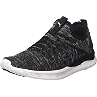PUMA Women's Ignite Flash Evoknit Women Shoes, Black Black-Asphalt White