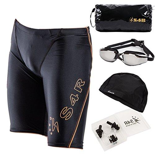 S4R(エスフォーアール) メンズ 競泳水着 5点セット 水着 ゴーグル スイムキャップ スポーツバッグ 耳栓 鼻栓 高品質 フィットネス水着 モデル (Yellow, M)