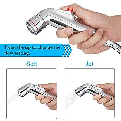 Handheld Bidet Sprayer Kit for Toilet, HogarTech Portable Shattaf Cloth Diaper Sprayer Set for Optimal Personal Hygiene, with Dual Spray Models