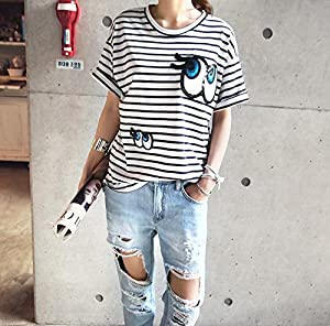 Naning9 ( ナンニング ) トリダンガラ スパンコール Tシャツ 目 スマイル キラキラ ボーダー ネイビー [並行輸入品]