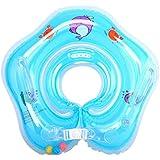 GoodsLand 【かわいい星型】 ベビー 浮き輪 スズ付き ハンドル ベルト調節 0歳 から 新生児 (ブルー) GD-BBUKIWA-BL