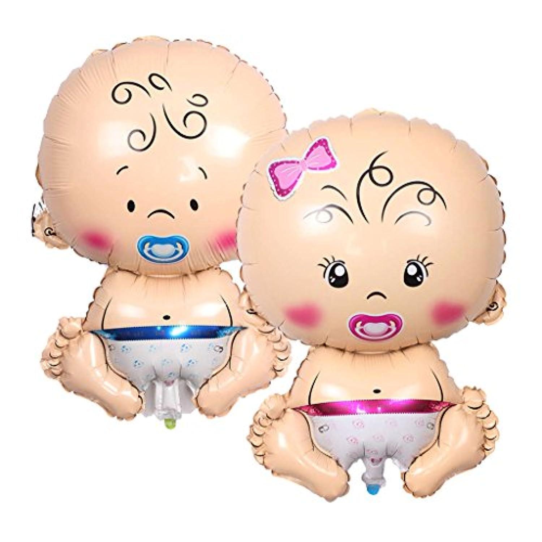 Prettyia 2個 バルーン ホイル風船 赤ちゃんおしゃぶり人形 ベビーシャワー ピンクと青