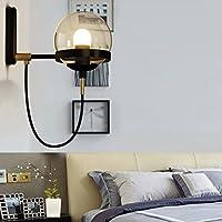 ウォールランプガラスシェードアイアンランプボディシンプルなファッションリビングルームベッドルーム回廊 (Color : Black)